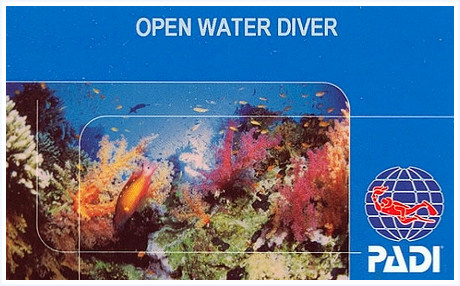 PADI Open Water Diver card